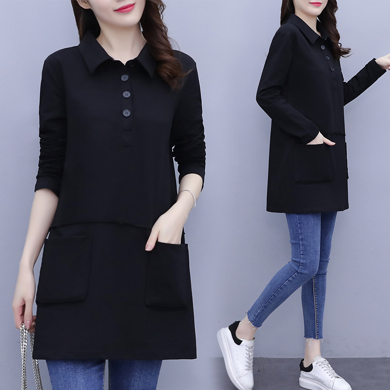 Fat sister medium-length shirt 2021 spring new large size womens casual cotton loose-fitting thin fashion top