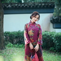 Zhu original (Yan Zhicui) heavy silk silk cheongsam