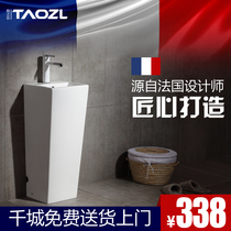 Balcony wash basin column basin All-in-one ceramic floor basin toilet connected small wash basin washbasin