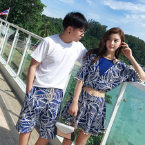 Retro Chinese wind height waist conservative couple bathing dress girl small breast gathering beach conservative skinny couple set