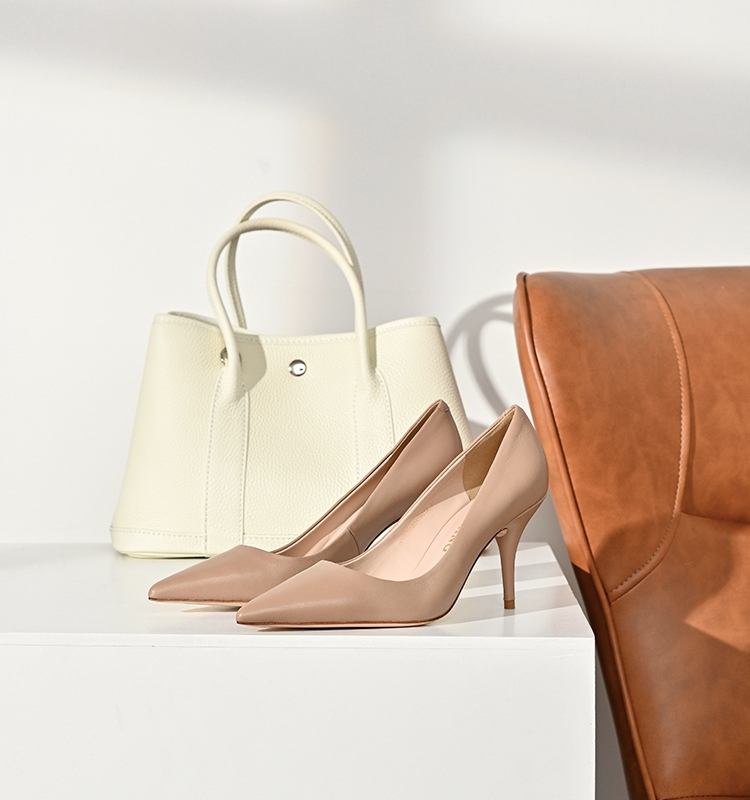 MEIYANG MEIYANG such as a flat life push nude leather elegant pointed 6-9cm high heels