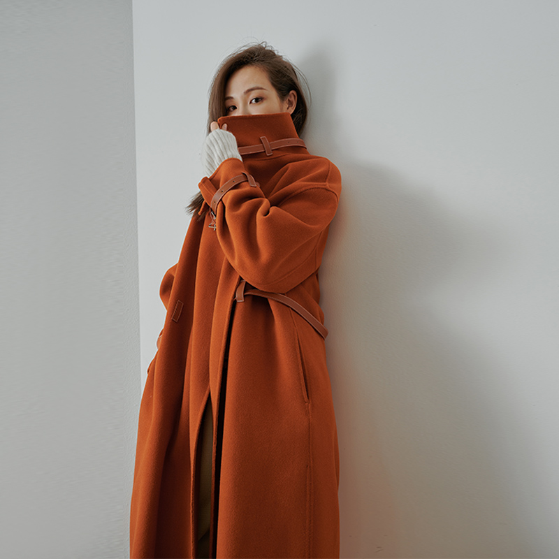 Meiyang MEIYANG Bonnie wool coat of the year pressure shaft pure wool plicing profile medium-length version of the double-sided