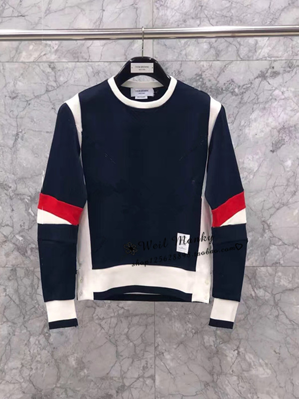 Japans Thom Browne 18 autumn winter TB bump striped scum round collar sleeve head thick cotton T knitted jacket