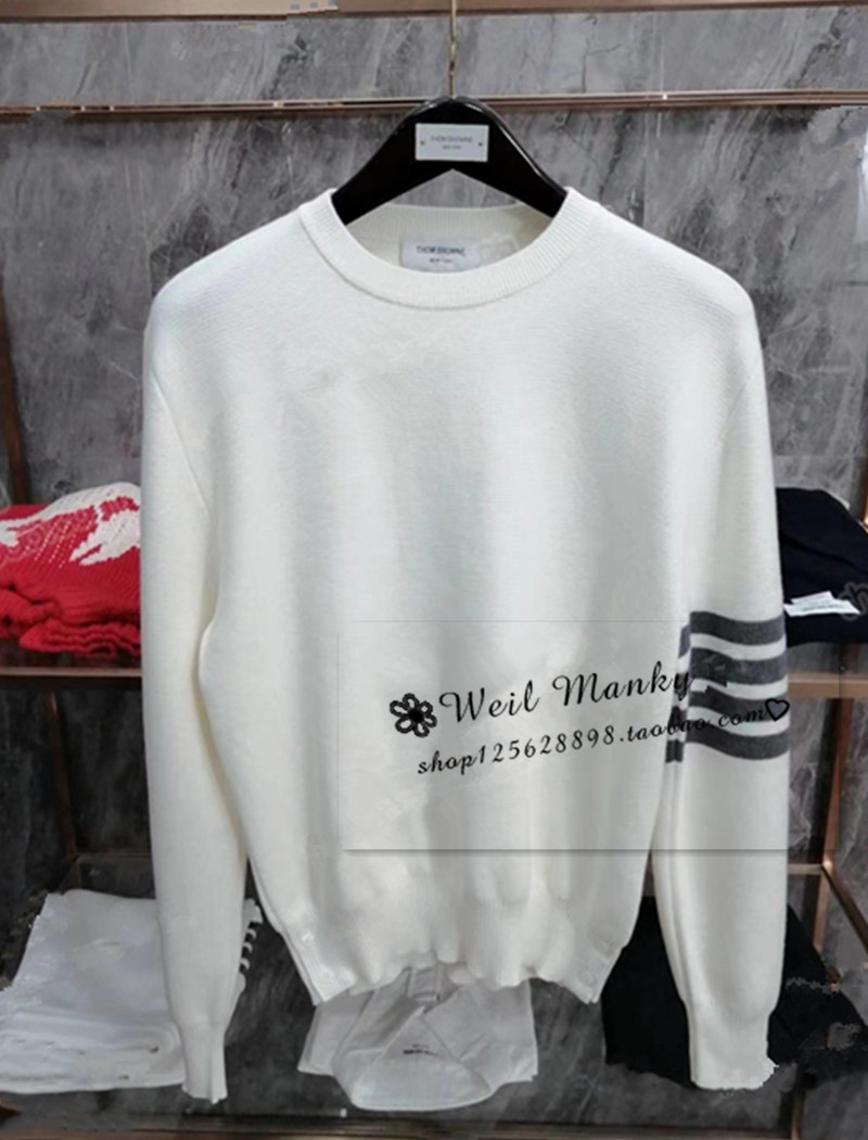 Thom Browne 20ss autumn winter tb macaron striped sweater mens and womens wool sweaters