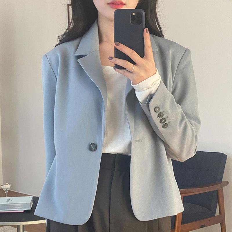 2021 new item blue blazer women summer thin small short casual versatile thin suit top