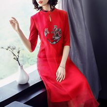 Chinese style 2018 spring big new big heavy silk organza dress red embroidery a word dress