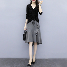 Early Autumn 2009 New Large Size Women's Wear Fat mm Slim Autumn Half-length Skirt Fashion Suit Two-piece Fashion Suit