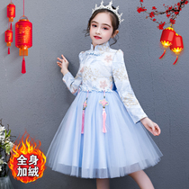 Girls princess skirt autumn and winter Foreign new style Chinese style thickening dress Children New Year New Year Tang dress