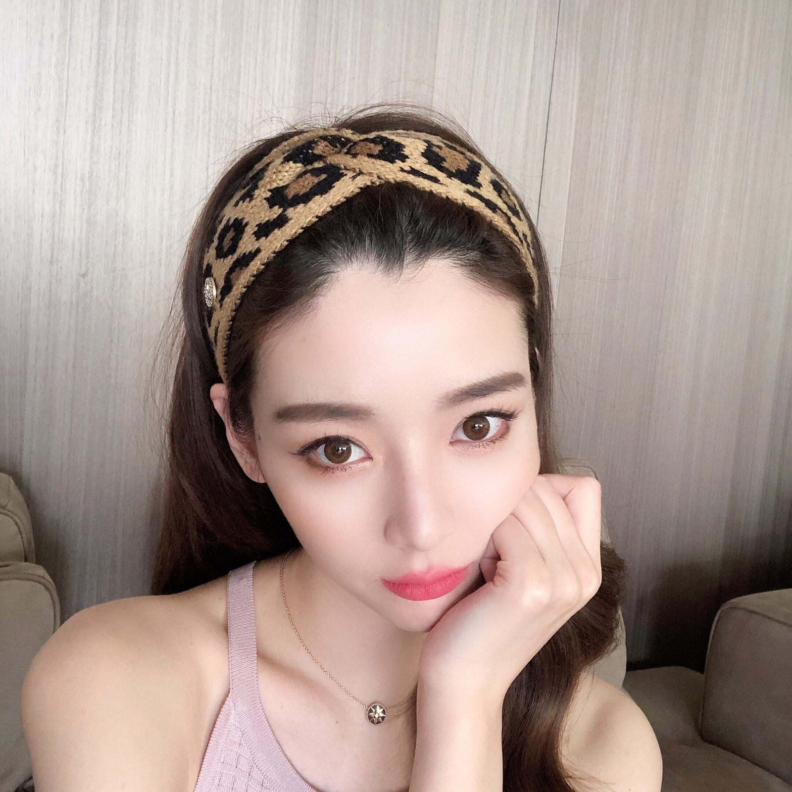 South Koreas ancient leopard print 髮 with European and American wool Korean wide-髮 braided hoops female knitting net 髮 jewelry