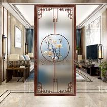 Personnalisé moderne Chinois art verre en acier salon écran table de lavage partition mur porte entrée mat translucide