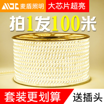 100 meters installed LED lights with strip three-color color-changing living room ceiling decorative line lights outdoor ultra-bright waterproof soft light strip