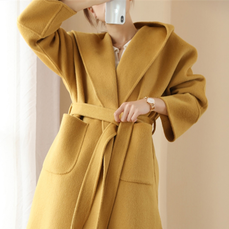 Winter 2020 New double-sided cashmere coat lady mid-length version over knee 100% pure wool hooded jacket