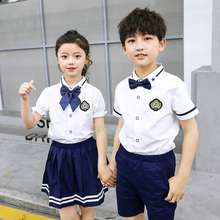 Kindergarten uniform summer school style white shirt suit children chorus class uniform primary school uniform graduation photo