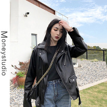 MSstudio 2019 autumn new Korean version of the leisure motorcycle leather jacket imitation sheep leather PU leather jacket women