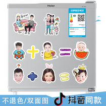 Jitter Original custom DIY magnetic custom refrigerator paste Happy wedding creative jewelry wedding photo Cartoon magnet Sticker