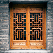 Dongyang wood carving Chinese solid wood antique doors and windows grid custom custom elm window screen factory direct sales