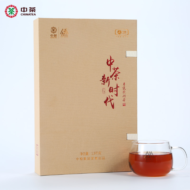 China Tea Brand 100 Years Mucang Hunan Anhua Black Tea Hand-built Poria Brick Tea Golden Flower Poria Tea New Age 1.9 kg