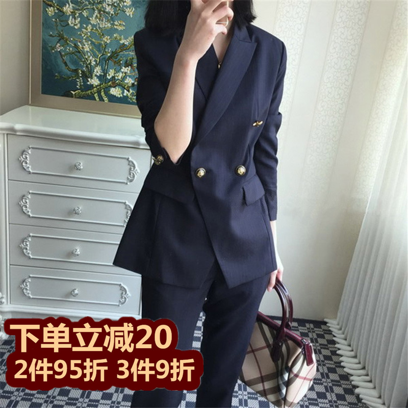 2021 Spring and Autumn new small suit suit female Korean version of fashion casual temperament slim professional OL suit two-piece set