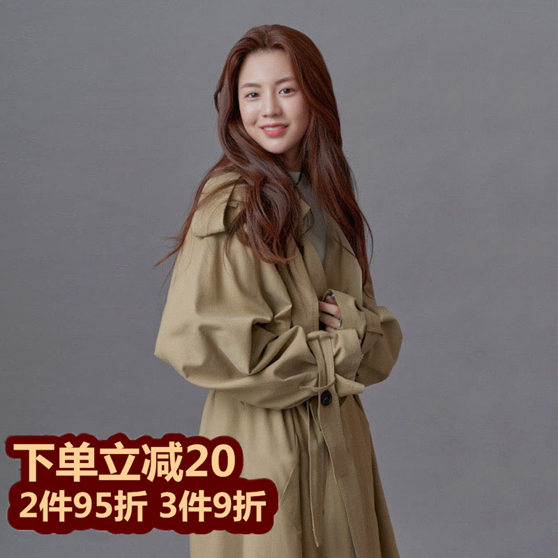 2021 spring summer new item Korean version of the long loose trench coat lazy wind woman lace-up waist thin coat coat female