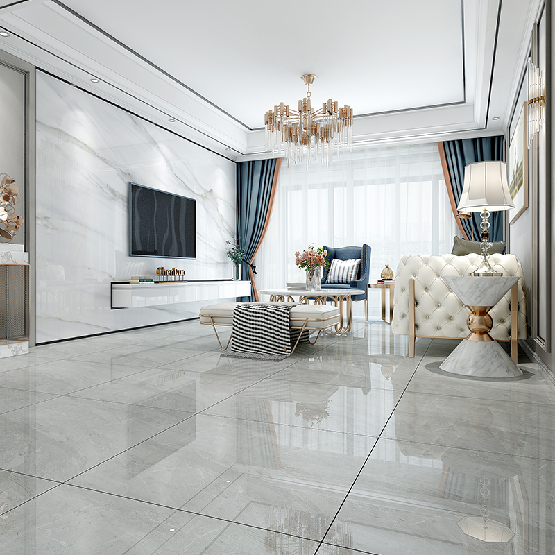 800X800 tiles, grey marble block, simple modern living room, antiskid floor tiles