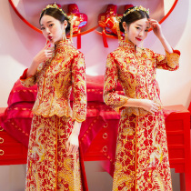 Xiuhe service bride 2018 new style dragon and Phoenix gown Chinese wedding dress vintage wedding dress toasting dress wedding show kimono summer