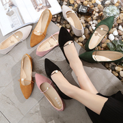 Korean version of the new shoes in the spring of 2017 shallow mouth of Pearl pointed shoes Suede Shoe fashion shoes slip-on scoop