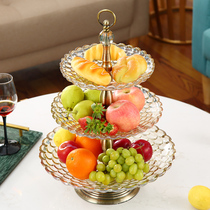 European glass double fruit plate modern creative American fruit plate home living room coffee table decoration luxury fruit Basin