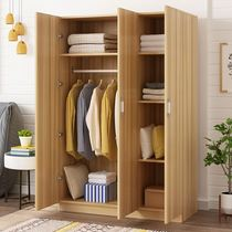 Wardrobe modern simple economy Assembly solid wood board dormitory rental room Children simple wardrobe bedroom cabinet