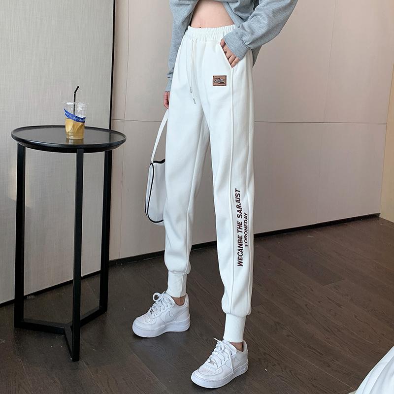 White casual sweatpants womens winter plus-down guard pants new 2020 burst plus thick loose-fitting leggings Harlan pants