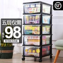 Extra-large snack storage box plastic drawer-style transparent storage cabinet home childrens toys finishing box