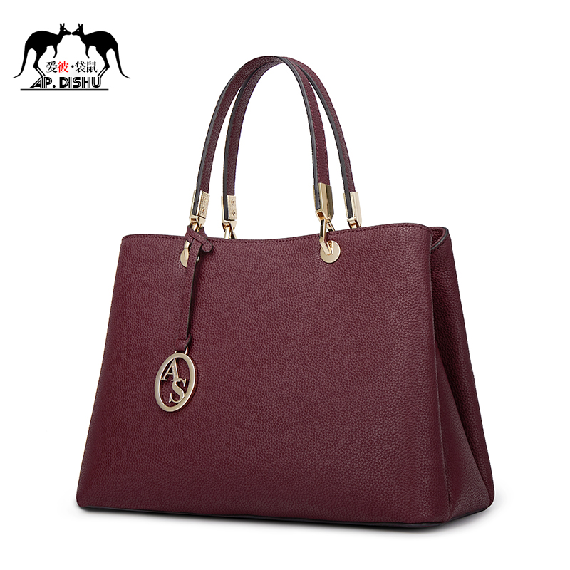 Bag 2018 new tide leather handbags shoulders diagonal temperament wearing 妃 leather middle-aged ladies mother bag