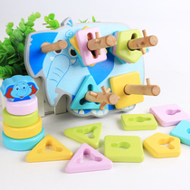 Geometric shape body early teach puzzle toys 0-1 years old stacked high baby building blocks jigsaw assembly men and girls four sets of columns