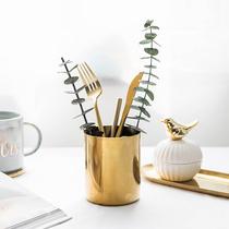 Nordic ins Wind simple golden desktop student fashion iron pen Brush bucket Creative Makeup pen storage box