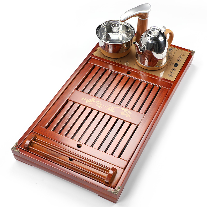 Solid wood tea plate electric heater four-in-one large drainage set of embedded kung fu tea table set