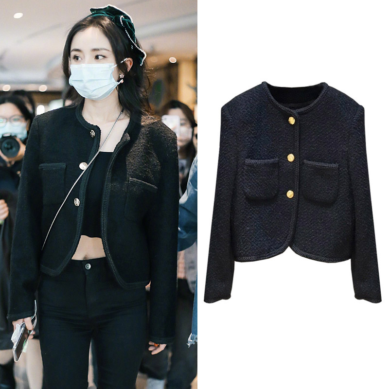 Yang Mi star with tweed small fragrant wind coat female black short spring and autumn cardigan French socialite top tide