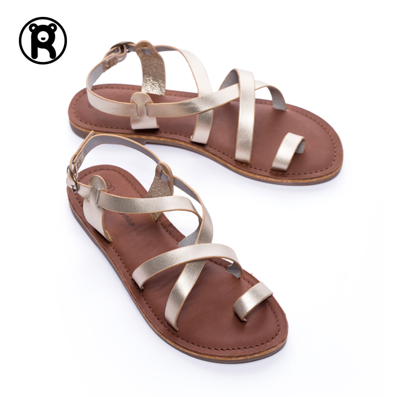 ROCKY BEAR/Rock Bear Leather Flat-soled Sandals Female Roman Bandage Summer Fashion Cowskin Flat-heeled Women's Shoes
