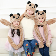 Warm winter female hat scarf glove three piece child child adult students Plush three piece of coral