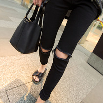 Korean autumn slim slim waist in black skinny jeans