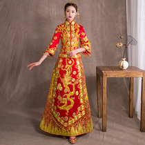 Show WO clothing bride 2018 new pregnant women wedding costume wedding dress Chinese wedding dress dragon and Phoenix gown show and spring