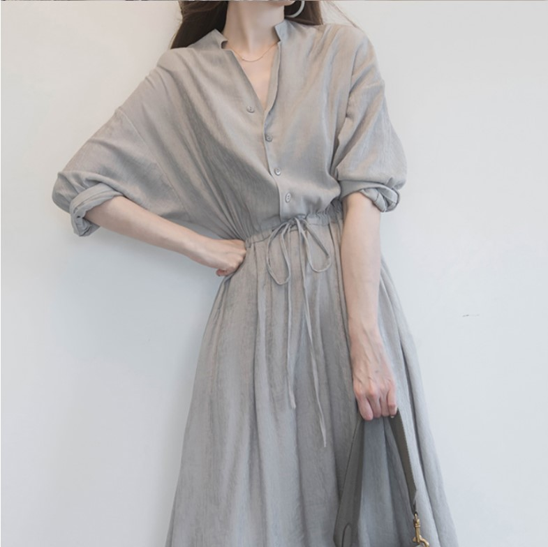 Large size womens 2021 summer new fat mm shirt dress foreign air age-reducing Xian air thin belly cover skirt tide