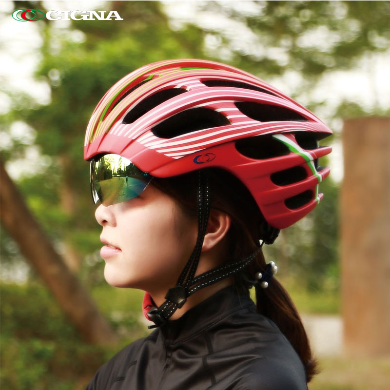 CIGNA riding helmet bicycle men's and women's glasses integrated highway mountain bicycle equipment safety helmet flying dead
