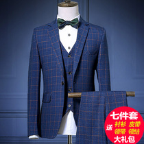 Spring and summer mens plaid slim fit suit