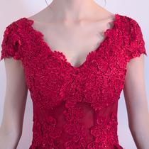 Bride toast 2017 new Winter Red V neck long married back evening dress dress Girl