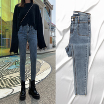 High waist jeans womens pants Slim Slim High tight skinny pants womens 2020 spring new tide