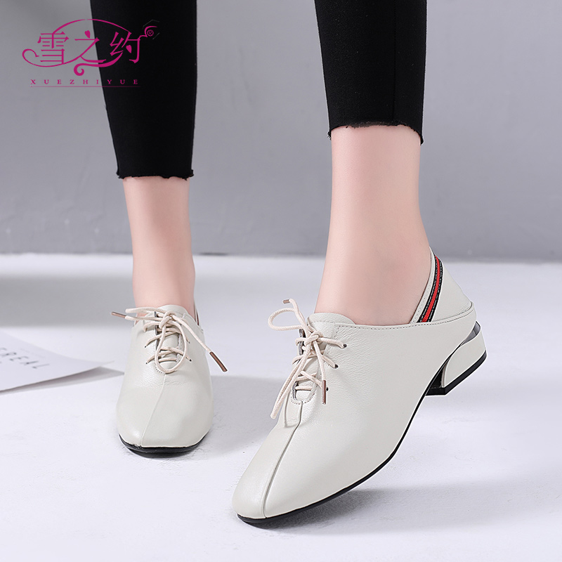 Spring Shoes Women 2019 New Fashion Genuine Leather Flat Bottom Large Size Women's Shoes 41-43 Hundreds of Single Shoes British Leather Shoes