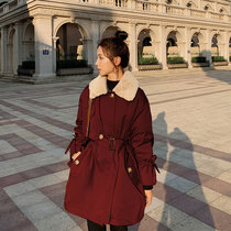 Red Pike cotton dress womens middle-length small waist thin autumn and winter 2020 new plus-on cotton jacket