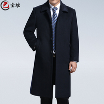 Autumn elderly wool woolen middle-aged men plus thick cashmere trench coat