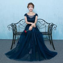 Banquet company annual Meeting fashion show slim one-word collar evening dress