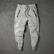 Давно потерял мужской осенний тренд шнурок упругие талии slim fit маленькие ноги защитные брюки сокращение ноги случайные брюки мужской красивый