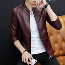 Leather mens spring and autumn new Korean version trend slim machine car leather jacket mens autumn jacket jacket